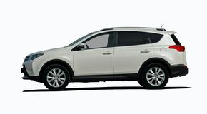 Biały SUV boczny widok Obraz Royalty Free