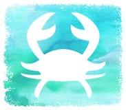 Biały sylwetka krab na Błękitnym akwareli tła plakacie Obrazy Stock