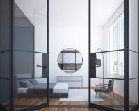 Biały sypialni wnętrze z round lustrem Obrazy Stock