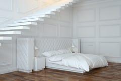 Biały sypialni wnętrze Z schodkami (Perspektywiczny widok) Zdjęcia Stock