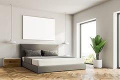 Biały sypialnia kąt, plakat royalty ilustracja