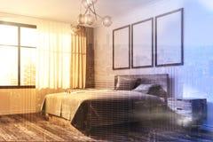 Biały sypialnia kąt, plakatowa galeria Zdjęcie Stock