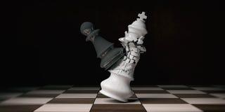 Biały szachowy królewiątko łamający czarnym pionkiem na chessboard, ilustracja 3 d ilustracji