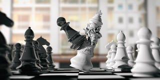 Biały szachowy królewiątko łamający czarnym pionkiem na chessboard, plamy tło ilustracja 3 d ilustracji