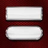 Biały szkło 3d zapina na czerwony metal dziurkującym tle Zdjęcia Stock