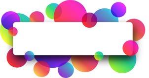 Biały sztandar z colour okręgami ilustracja wektor