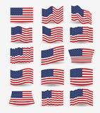 Biały tło kolorowy set zaznacza zlanych stany America różny projekt Obraz Stock