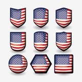 Biały tło kolorowy trójwymiarowy set zaznacza zlanych stany America różni kształty Zdjęcie Royalty Free