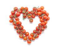 biały tło pomidory czereśniowi kierowi jeść zdrowo pojęcia Obraz Stock