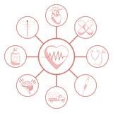 Biały tło z czerwonego koloru sekcjami łączyć kurenda sylwetki bicie serca obramia elementów zdrowie royalty ilustracja