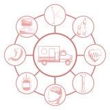 Biały tło z czerwonego koloru sekcjami sylwetka ambulansowy samochód łączący kurenda obramia elementów zdrowie ilustracja wektor