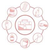 Biały tło z czerwonego koloru sekcjami sylwetka zestawu pierwszy pomoc łącząca kurenda obramia elementów zdrowie ilustracja wektor