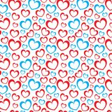 Biały tło z czerwonymi i błękitnymi sercami Obrazy Royalty Free