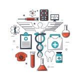 Biały tło z kolorowym setem badania medyczne ikony Zdjęcie Stock