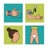 Biały tło z ramami zdrowie kontrola z zegarowym pulsu monitorowanie, ciśnienie krwi kobiety i monitoru ciałem i Obrazy Royalty Free