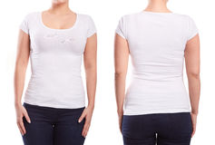 Biały tshirt na młodej kobiecie fotografia stock