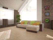 Biały wewnętrzny projekt żywy pokój Zdjęcia Stock