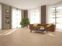 Biały wewnętrzny projekt żywy pokój ilustracji