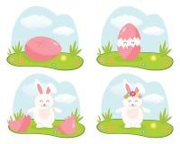 Biały Wielkanocny królik na gazonie który kluł się ich różowego jajko W wektorowych ilustracjach Zdjęcia Stock