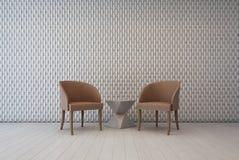 Biały wnętrze z ściennym dekoracja wzorem i karłami, żywy pokój Fotografia Royalty Free