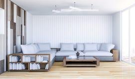 Biały współczesny żywy izbowy wnętrze z pustą ścianą Zdjęcie Stock