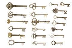 biały złoci odosobneni klucze Fotografia Stock