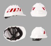 Biały zbawczy hełm budowa ciężkie kapelusz Fotografia Stock