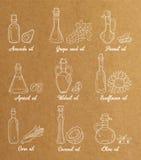 9 białych olej do smażenia w rocznika sepiowym stylu Fotografia Stock