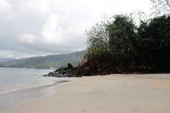 Białych piasków Plażowy widok Fotografia Stock