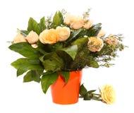 Białych róż bukiet w pomarańczowym ceramicznym flowerpot Zdjęcia Royalty Free