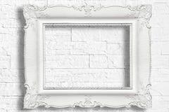 Biała barok rama Obrazy Stock