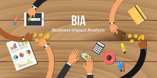 Bia business impact analysis illustration team work together with hand. On wooden table with money graph paper work gold coin vector Stock Photos