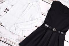 Biała czerni suknia dla dziewczyn i koszula Zdjęcie Royalty Free