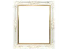 Biała drewniana obrazek rama Zdjęcie Stock