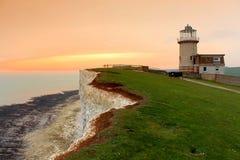 Białe falezy, belle konika latarnia morska Wschodni Sussex Anglia Obraz Stock