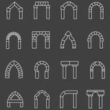 Białe mieszkanie linii ikony dla archway Obraz Stock