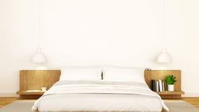 Białej sypialni czysty projekt - 3d rendering Zdjęcia Royalty Free