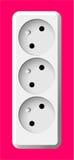 Biała elektryczna potrójna nasadka Obraz Stock