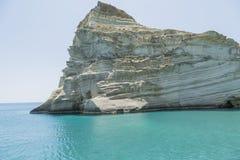 Biała faleza Milos Grecja fotografia stock