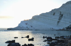 Biała faleza Scala dei Turchi blisko Agrigento, Sicily Obraz Royalty Free
