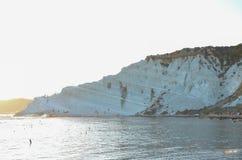 Biała faleza Scala dei Turchi blisko Agrigento, Sicily (Turecki schody) Fotografia Royalty Free