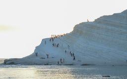 Biała faleza Scala dei Turchi blisko Agrigento, Sicily (Turecki schody) Zdjęcia Royalty Free