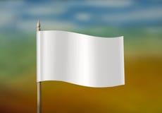 Biała flaga przeciw niebu Fotografia Stock