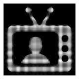 Biała Halftone TV mówcy ikona ilustracji