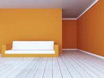 Biała kanapa w pokoju, 3d fotografia royalty free