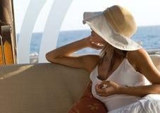 biała kobieta hat Obrazy Royalty Free