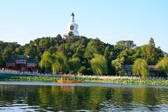 Biała pagoda w Pekin Chiny Zdjęcia Royalty Free