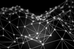 Biała rozjarzona 3D wireframe niska poli- siatka - sieci lub cyber inte Fotografia Royalty Free
