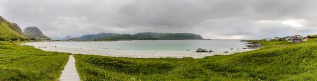 Biała Sandy zatoka na Lofoten Zdjęcia Royalty Free