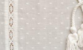 Biała tkanina z paskiem koronka Obrazy Royalty Free